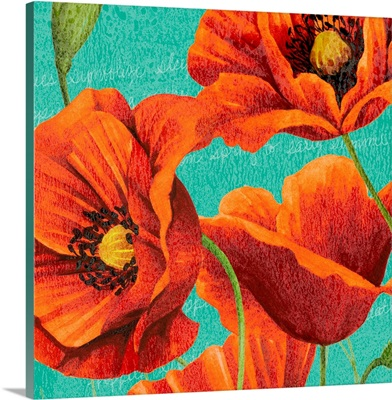 Red Poppies on Teal I