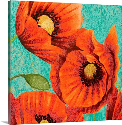 Red Poppies on Teal II