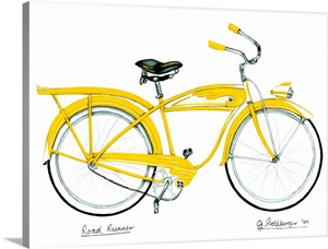 retro yellow bicycle wall art canvas prints framed prints wall peels great big canvas. Black Bedroom Furniture Sets. Home Design Ideas