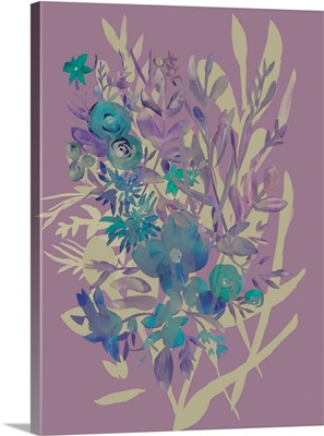 Slate Flowers on Mauve I