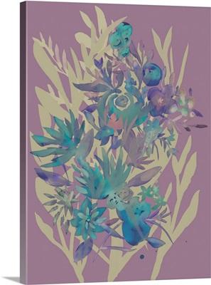 Slate Flowers on Mauve II