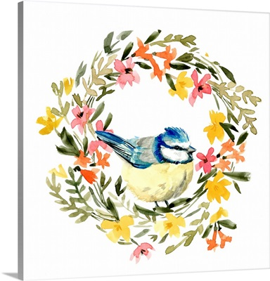 Springtime Wreath & Bird I