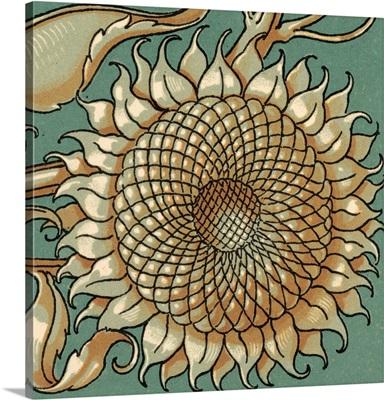 Sunflower Woodblock IV