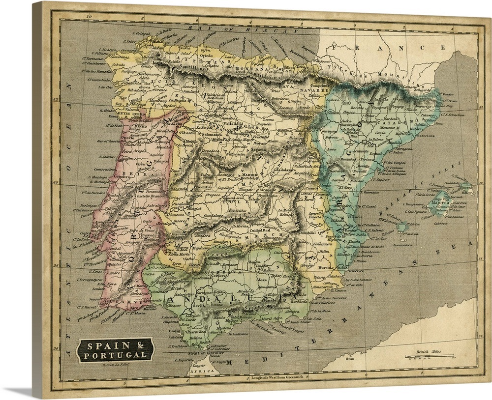 Big Map Of Spain.Thomson S Map Of Spain And Portugal