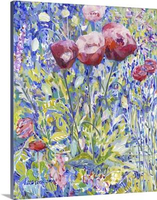 Three Poppies in Garden