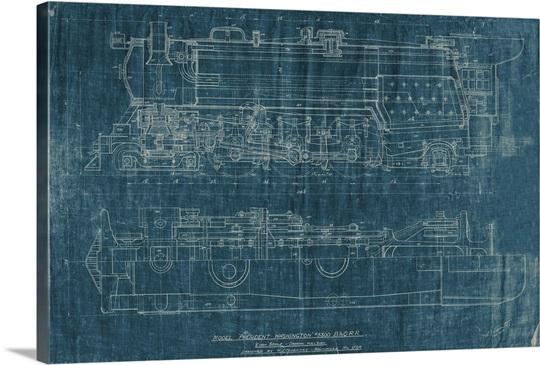 Train blueprint i wall art canvas prints framed prints wall peels train blueprint i malvernweather Choice Image