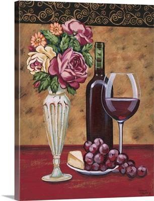 Vintage Flowers and Wine I