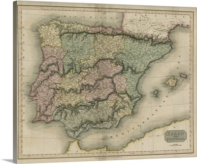 Vintage Map of Spain and Portugal