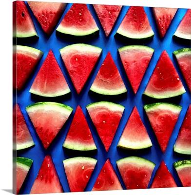 Watermelon Pattern On Blue