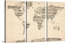 World Map made up of Sheet Music