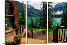 A view of Emerald Lake seen from the Emerald Lake Lodge entrance, Yoho National Park, Canada