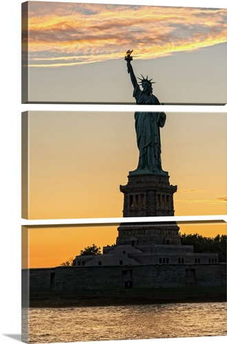 Lady Liberty Sunset Silhouette Wall Art, Canvas Prints, Framed ...