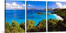 High Angle Panoramic View of Trunk Bay, St John, US Virgin Islan