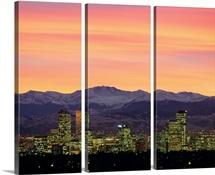 Skyline and mountains at dusk, Denver, Colorado