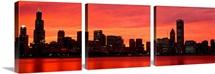 Skyline at sunset Chicago IL
