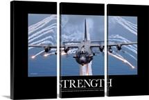 Military Motivational Poster:  An AC-130H Gunship aircraft jettisons flares