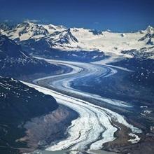 Aerial of Rohn Glacier flowing into Nizina Glacier Wrangell St. Elias National Park