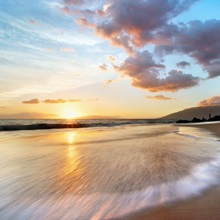 Hawaii, Maui, Makena, Secret Beach At Sunset