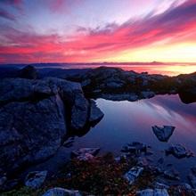 Sunrise Over Pond Short Arm Peak Prince of Wales Is AK SE Summer