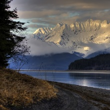 Sunset scenic of Echo Cove on Berners Bay near Juneau, Alaska, HDR image