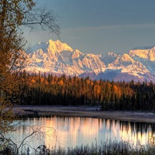 View of southside Mount McKinley and Mount Hunter at sunrise