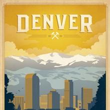 Denver, Colorado: Mile High City - Retro Travel Poster