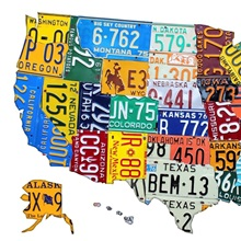 Green Grays US Typography Map Great Big Canvas - Us liscense plate map