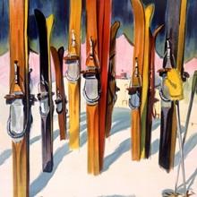 Wallis, winter, snow, ski, Vintage Poster