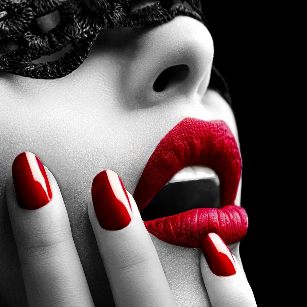 Woman With A Mask And Red Lips and Nails Wall Art, Canvas Prints ...