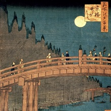Kyoto bridge by moonlight, from the series '100 Views of Famous Place in Edo', 1855