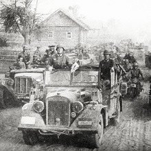 German Military Convoy In Occupied Russia