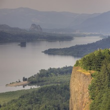 Oregon, Columbia River Gorge, Vista House at Crown Point, and the Columbia River