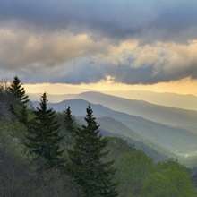 Sunrise view of Oconaluftee Valley, Great Smoky Mountains National Park, North Carolina
