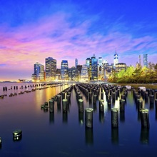 New York City, Manhattan, Lower Manhattan, Skyline with Freedom Tower at dawn
