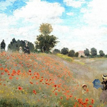 Poppy Field, 1873, By French impressionist Claude Monet