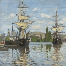 Ships Riding on the Seine at Rouen, by Claude Monet, 1873
