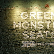 A sign leading to the Green Monster seats at Fenway Park in Boston, Massachusetts