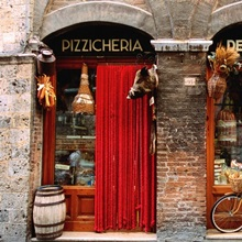 Bicycle in front of store, Siena, Tuscany, Italy, Europe