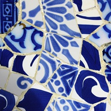 gaudi blue and white tiles in parc guell