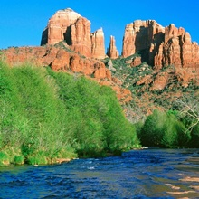 Red Rock formations over river, Sedona, Arizona, USA