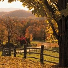 Scenic ranch in autumn , Woodstock, Vermont