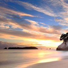 View of Cathedral Cove at sunrise.