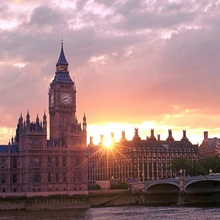 Westminster Bridge and Big Ben in London at sunset, England