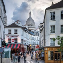 Streets Of Montmartre With Sacre Coeur Basilica In The Background Paris France Wall Art Canvas Prints Framed Prints Wall Peels Great Big Canvas