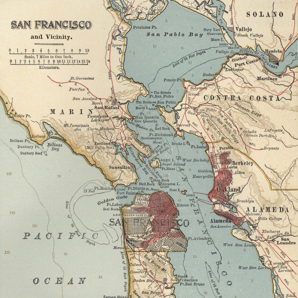 San francisco bay vintage map wall art canvas prints framed recently viewed clear items publicscrutiny Image collections
