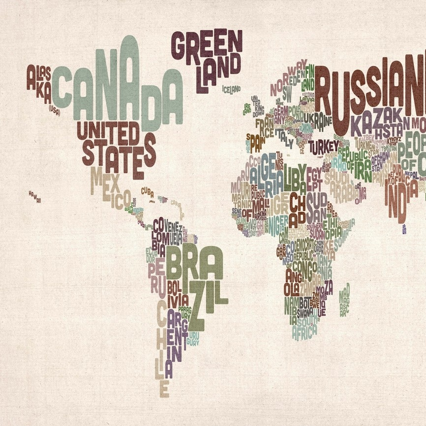 Country names world map muted colors on parchment wall art canvas recently viewed clear items gumiabroncs Choice Image