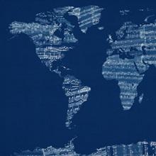 Sheet Music World Map, Blue