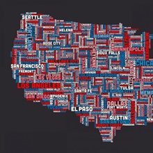 United States Cities Text Map US Colors On Parchment Great Big - Us parchment map