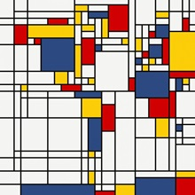 World Map Abstract Mondrian Style