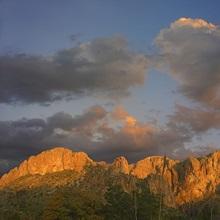 Sunlight illuminating Chisos Mountains, Chihuahuan Desert, Texas